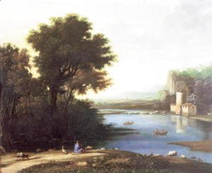 Claude Lorrain (Gellee) - Italianate Landscape with a Goatherd Piping to his Goats