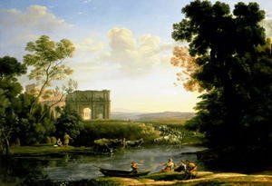 Claude Lorrain (Gellee) - Pastoral Capriccio with the Arch of Constantinople