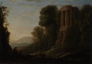 Claude Lorrain (Gellee) - River Landscape with Tiburtine Temple at Tivoli, c.1635