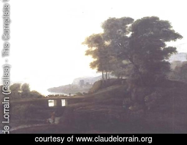 Claude Lorrain (Gellee) - Landscape with cattle and goats crossing a bridge