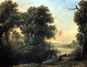 Claude Lorrain (Gellee) - River landscape with Goatherd Piping