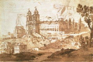 Claude Lorrain (Gellee) - View of the Church of S. Trinita dei Monti, Rome, c.1632