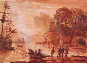 Claude Lorrain (Gellee) - The Disembarkation of Warriors in a Port, possibly Aeneas in Latium, 1660-65