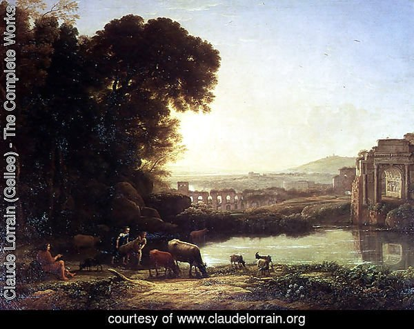 Cattle and Goats drinking by a ruin