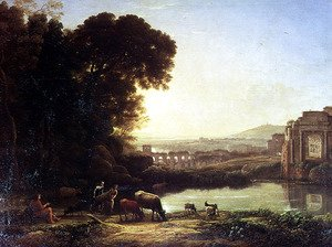 Claude Lorrain (Gellee) - Cattle and Goats drinking by a ruin