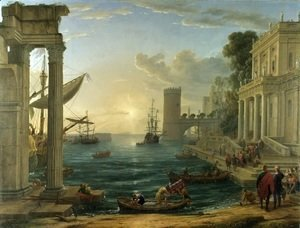 Claude Lorrain (Gellee) - Seaport with the Embarkation of the Queen of Sheba, 1648