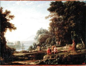 Claude Lorrain (Gellee) - Landscape with Apollo and Marsyas, 1639-40