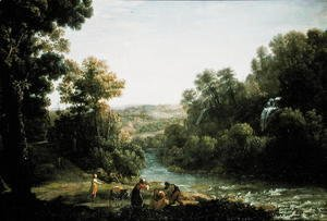 Claude Lorrain (Gellee) - Wooded Landscape with a Brook, 1630