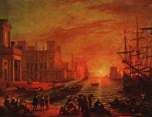 Claude Lorrain (Gellee) - Sea Port at Sunset, 1639