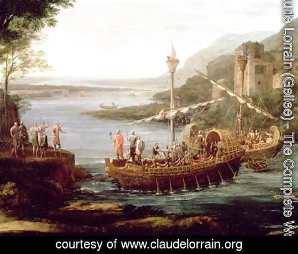 Claude Lorrain (Gellee) - Landscape with the arrival of Aeneas at Pallanteum (detail)