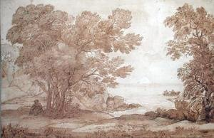 Claude Lorrain (Gellee) - Study for a landscape with Psyche and the Palace of Love, 1663