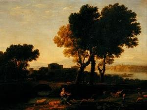 Claude Lorrain (Gellee) - Landscape with Apollo guarding the Cattle of Admetus and Mercury stealing them