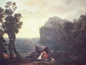 Claude Lorrain (Gellee) - Coastal landscape with Acis and Galatea, 1657