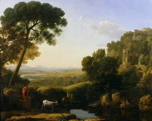 Claude Lorrain (Gellee) - A Sunset or Landscape with Argus Guarding Io