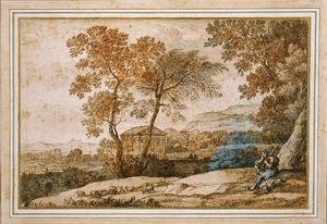 Claude Lorrain (Gellee) - Landscape with a shepherd and his dog