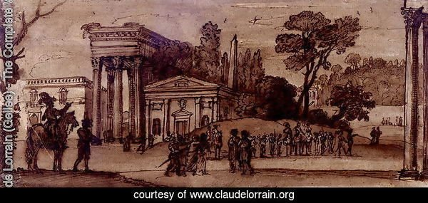 Landscape with classical buildings and figures