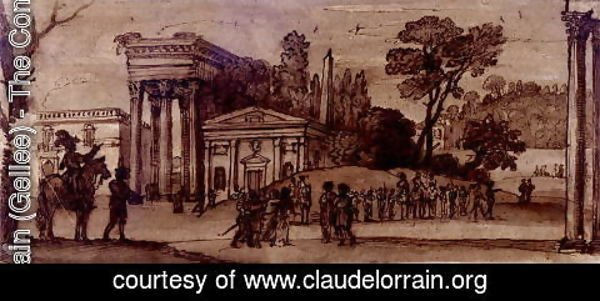Claude Lorrain (Gellee) - Landscape with classical buildings and figures