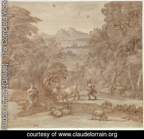 Claude Lorrain (Gellee) - Landscape with Mercury and Apollo as a Shepherd, 1673