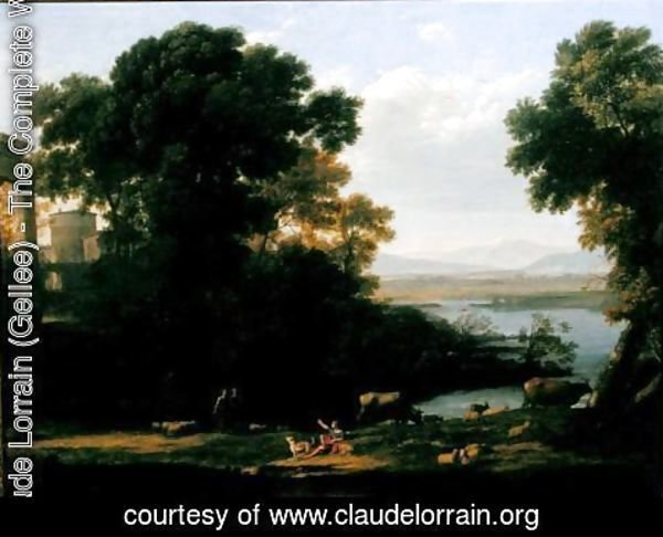 Claude Lorrain (Gellee) - Classical river scene with a view of a town