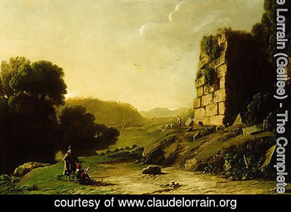 Claude Lorrain (Gellee) - Landscape with a Draughtsman Sketching Ruins