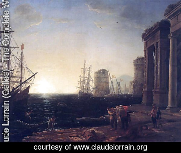 Claude Lorrain (Gellee) - Harbour Scene at Sunset