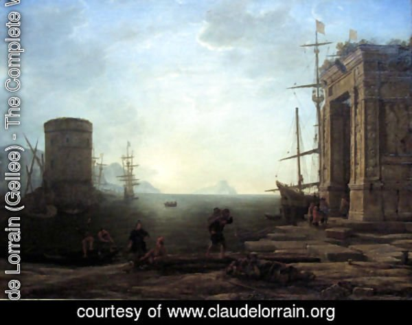 Claude Lorrain (Gellee) - Harbour view at sunrise