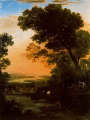 Claude Lorrain (Gellee) - Idyllic landscape with the flight into Egypt