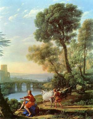 Claude Lorrain (Gellee) - Landscape with Apollo and Mercury