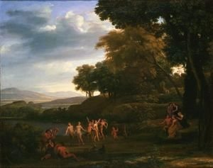 Claude Lorrain (Gellee) - Landscape with Dancing Satyrs and Nymphs