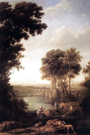 Claude Lorrain (Gellee) - Landscape with Moses saved from the waters