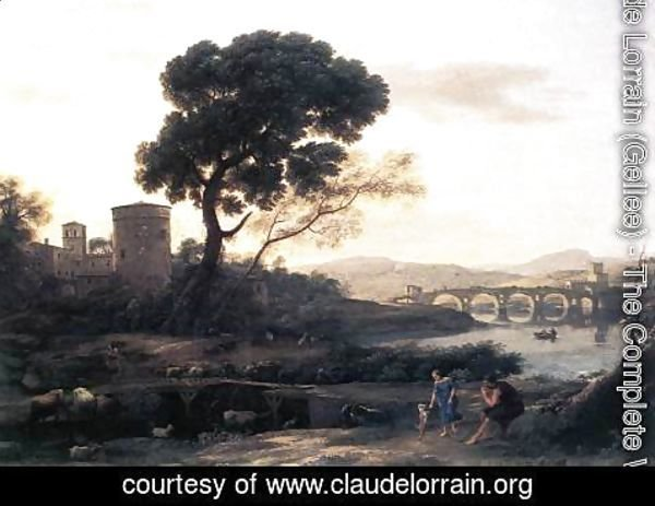 Claude Lorrain (Gellee) - Landscape with Shepherds, The Pont Molle