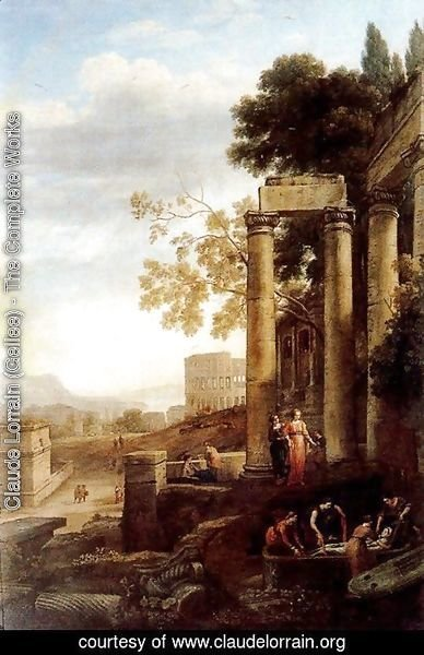 Claude Lorrain (Gellee) - Landscape with the burial of St. Serapia