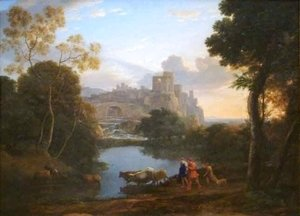 Claude Lorrain (Gellee) - View of Tivoli at Sunset