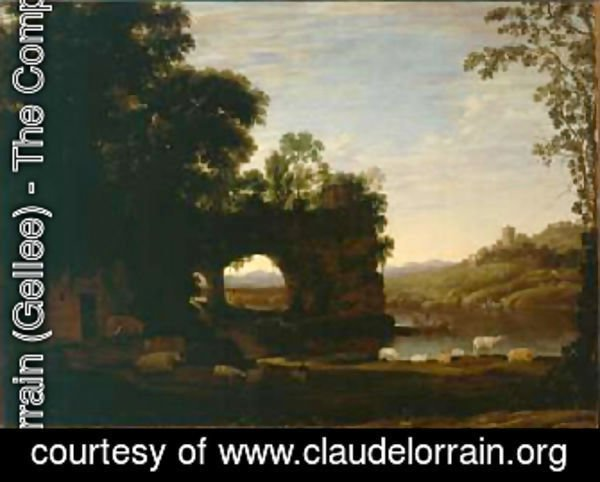 Claude Lorrain (Gellee) - Landscape with a Rock and River 1628 30