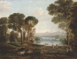Claude Lorrain (Gellee) - An Italianate river landscape with figures dancing and making music on a bank, a town beyond