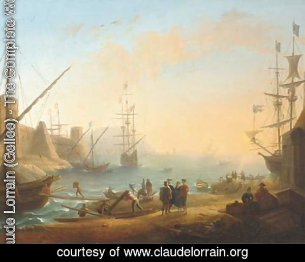 Claude Lorrain (Gellee) - A Mediterranean harbour with shipping and merchants on the shore