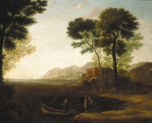 A coastal inlet with the embarkation of Carlo and Ubaldo