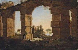 An Italianate evening landscape with a shepherd and his flock by a ruined aqueduct