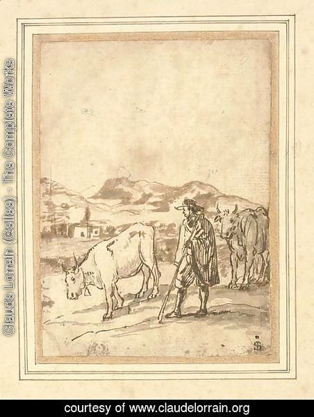 A herdsman and two cows