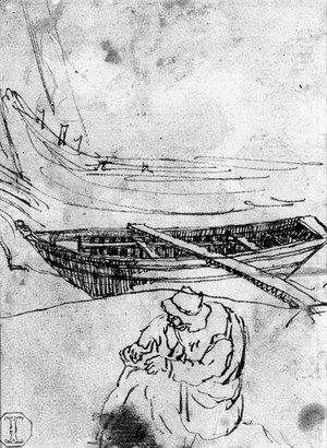 A Fisherman repairing his Net near two Boats