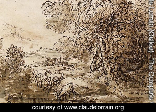 Venus and Adonis in an extensive Landscape with Deer