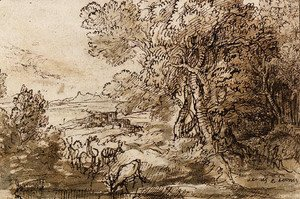 Claude Lorrain (Gellee) - Venus and Adonis in an extensive Landscape with Deer