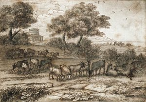 An extensive Mediterranean landscape with a tower and a herd of goats