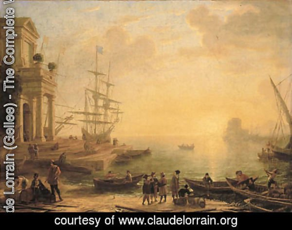Claude Lorrain (Gellee) - A capriccio of an Italianate harbour at sunset, with merchants, fishermen and stevedores on the shore in the foreground, men-o'-war at a quay beyond