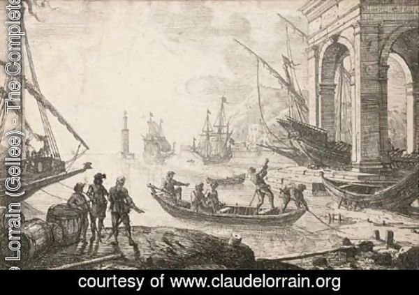 Claude Lorrain (Gellee) - Harbour scene with rising sun