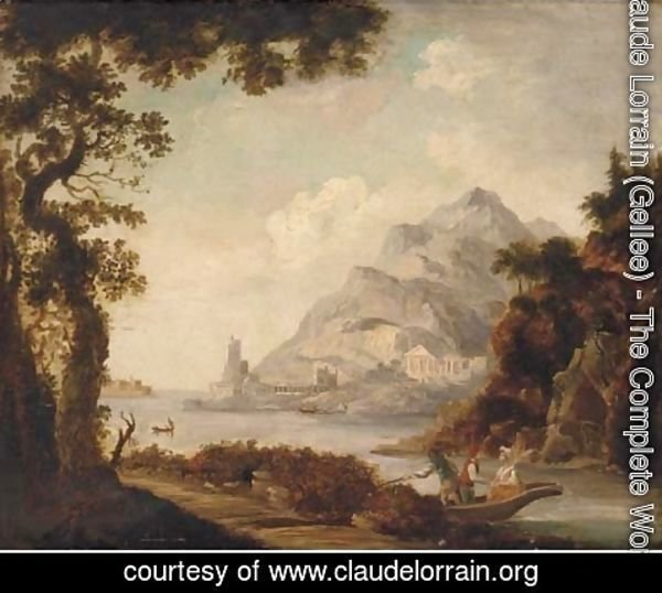 Claude Lorrain (Gellee) - Figures in a boat before classical ruins, in a Mediterranean harbour