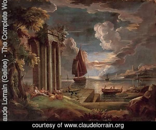 A Mediterranean coastal landscape at twilight with shepherdesses and their goats at rest by classical ruins, shipping beyond