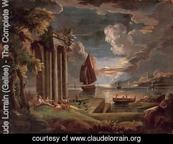 Claude Lorrain (Gellee) - A Mediterranean coastal landscape at twilight with shepherdesses and their goats at rest by classical ruins, shipping beyond
