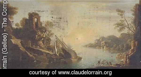 A capriccio of a Mediterranean  coastal inlet with shipping and fisherman pulling in the catch