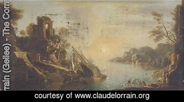 Claude Lorrain (Gellee) - A capriccio of a Mediterranean  coastal inlet with shipping and fisherman pulling in the catch